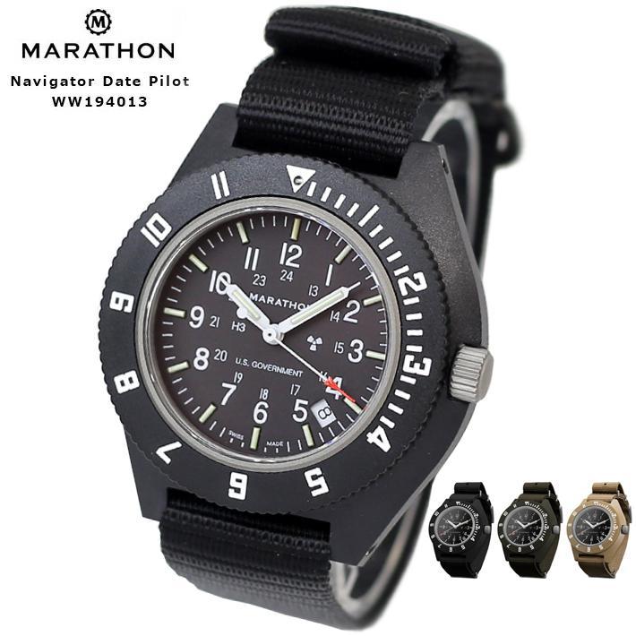 時計 腕時計 MARATHON Navigator Date Pilot 商品追加値下げ在庫復活 マラソン パイロットクォーツ メイルオーダー デイト サファイアクリスタル ナビゲーター WW194001
