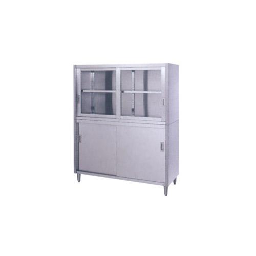 シンコー食器戸棚SUS430(片面上部ガラス戸・片面下部ステンレス戸仕様)CG-12075