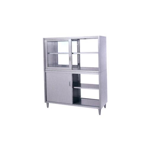 シンコー食器戸棚SUS430(両面上部ガラス戸・両面下部ステンレス戸仕様)CGW-15090