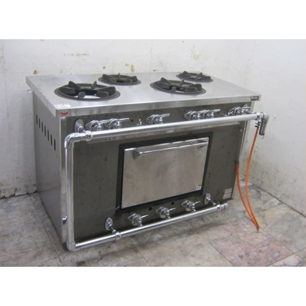 18G1301N '13マルゼン 都市ガス4口ガスレンジ MGR-126CS 中古 オーブン付コンロ 1200×600×800