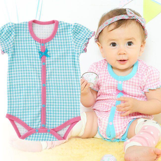 感謝価格 ベビー服 赤ちゃん 服 ベビー ロンパース 女の子 チェックリボン半袖前開きロンパース 60 70 80 半袖 現品