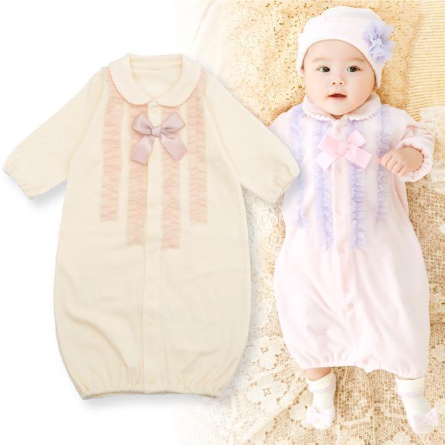 ベビー服 赤ちゃん 服 ベビー ツーウェイオール 海外 女の子 50 ドレスオール 新生児 倉庫 60 2wayオール スウィートガールフリル新生児ツーウェイオール