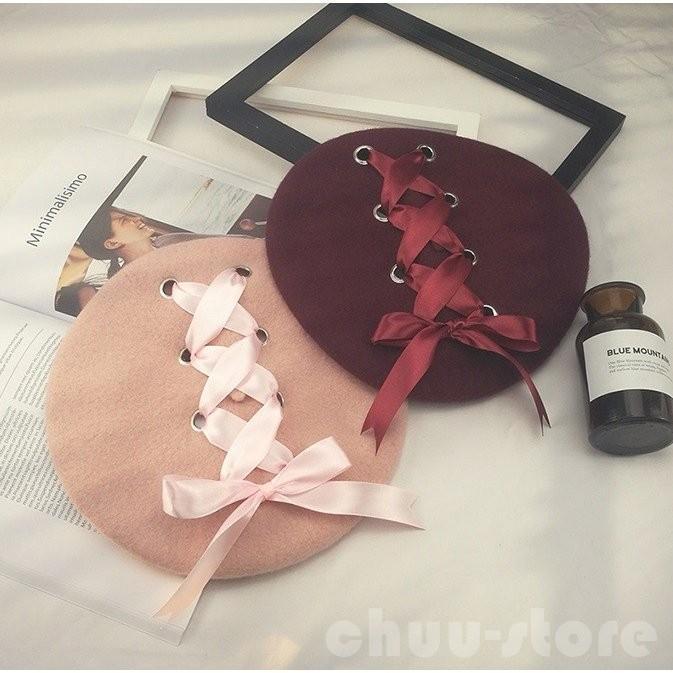 ベレー帽春帽子姫様可愛いレースアップ編み上げリボンフェミニンロリータロリィタゆめかわいいゴスロリガーリー帽子ファッション小物 chuu-store 03