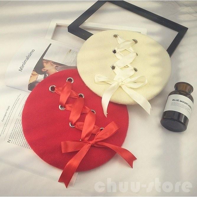 ベレー帽春帽子姫様可愛いレースアップ編み上げリボンフェミニンロリータロリィタゆめかわいいゴスロリガーリー帽子ファッション小物 chuu-store 04