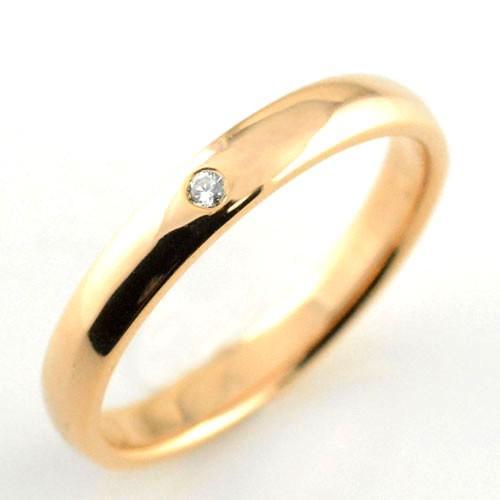 【開店記念セール!】 メンズ リング ダイヤモンド ピンクゴールドk18 シンプル k18 ダイヤ ダイヤモンド 結婚指輪 ハンドメイド 甲丸 18k 18金 一粒 3mm プレゼント, カドガワチョウ d3ec35b6