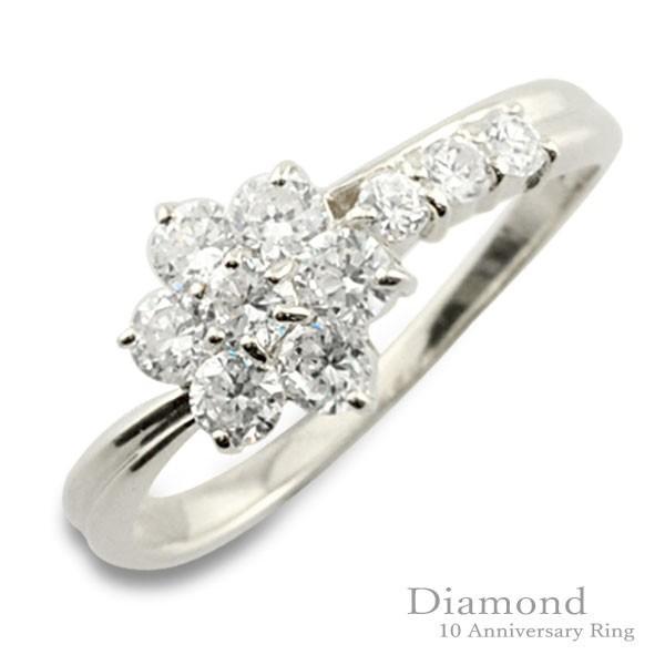 日本最大の ダイヤモンド リング プラチナ 10周年 記念 pt900 プラチナ900 フラワー テン10粒 花 10石 重ねづけ レディー テンダイヤモンド, イケダシ e9a05cd1