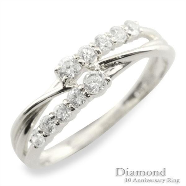 【お得】 18金 リングダイヤモンド 指輪 婚約指輪 テンダイヤモンド エンゲージリング k18 ホワイトゴールドk18 2連 テン18k 10石, TAKANNA 07ea3079