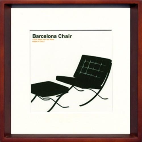 ミッドセンチュリー Toshiaki Yasukawa Modern Design Studio Barcelona 額付き 爆安 ITY-14051 Chair モダン インテリア 31.5×31.5×3.5cm 選択