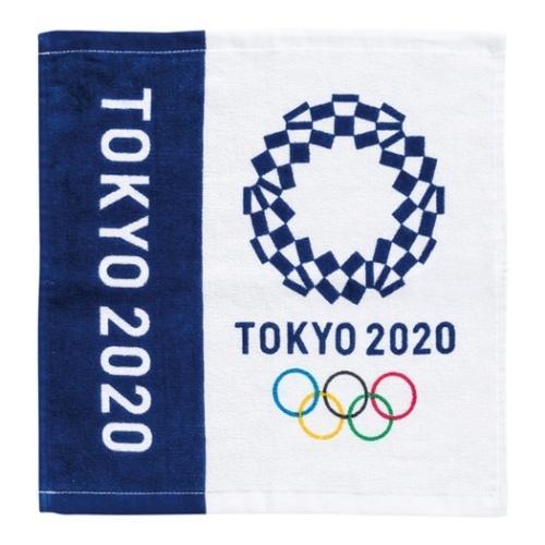 東京2020 オリンピック スポーツ プレゼント ハンドタオル 2枚セット プリント 東京2020オリンピックエンブレム マーケット 倉 ネイビー ウォッシュタオル