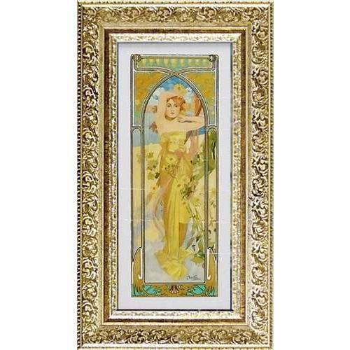 名画 アルフォンス·ミュシャ 昼の輝き 額付きポスター ユーパワー 28×50cm おしゃれ インテリア