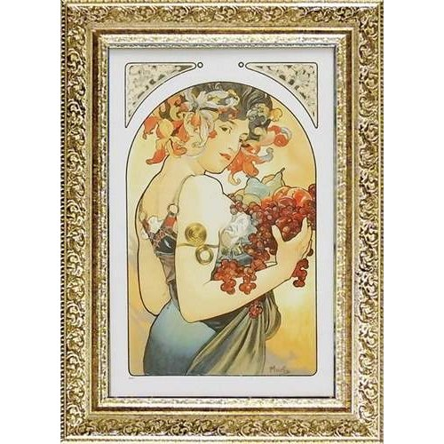 アルフォンス·ミュシャ 名画 額付きポスター フルーツ インテリア グッズ ユーパワー 28×52cm おしゃれ