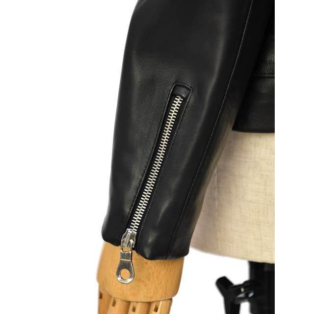 CINQUANTA【チンクアンタ】ダブルノーカラーライダース H562 1011 999 NERO ブラック|cinqessentiel|06