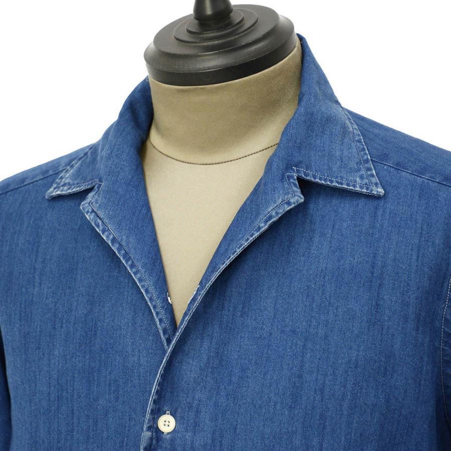 Bagutta【バグッタ】オープンカラーシャツ JOHNNY_GL 08266 050 デニム ウォッシュドインディゴ|cinqueunaltro|02