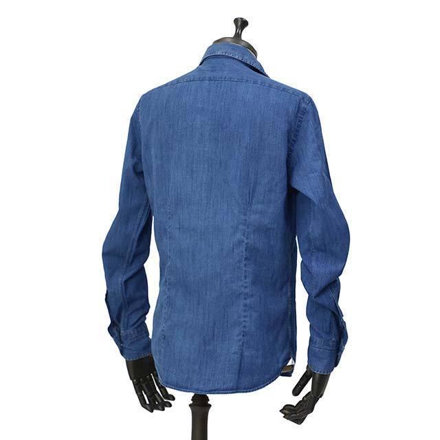 Bagutta【バグッタ】オープンカラーシャツ JOHNNY_GL 08266 050 デニム ウォッシュドインディゴ|cinqueunaltro|03