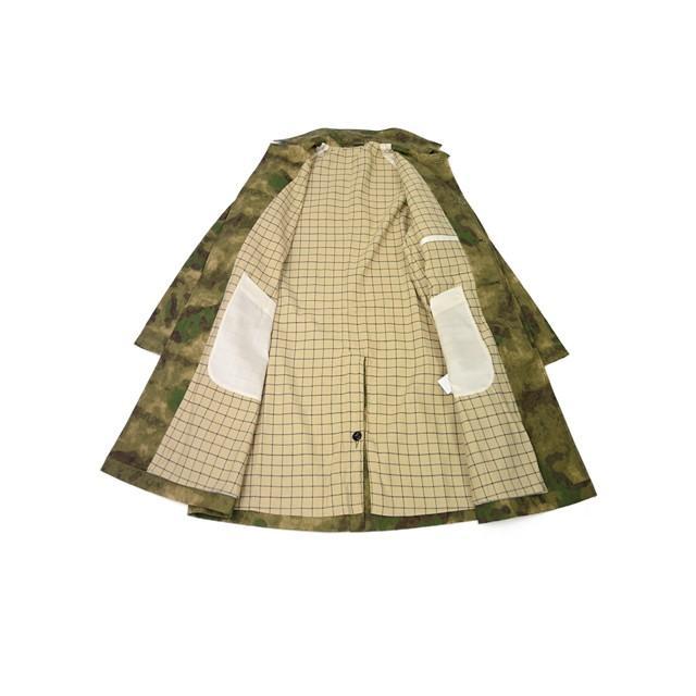 【size S,L】FORTELA【フォルテラ】ステンカラーコート MC-47 00216 GREEN カモフラージュ グリーン ベージュ|cinqueunaltro|03