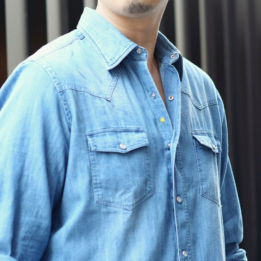 Giannetto【ジャンネット】ウエスタンシャツ VINCI FIT 92031348AUSV65 001 デニム ダメージ ウォッシュドブルー|cinqueunaltro|09