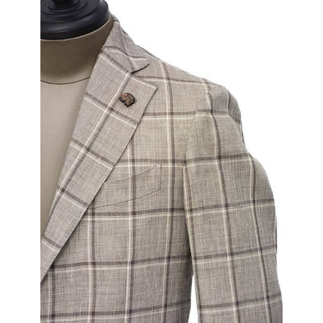 【size44,48】Gabriele Pasini【ガブリエレ パジーニ】シングルジャケット JG13065Q GF13476 28 リネン ウール ウィンドウペーン グレー ブラウン cinqueunaltro 04