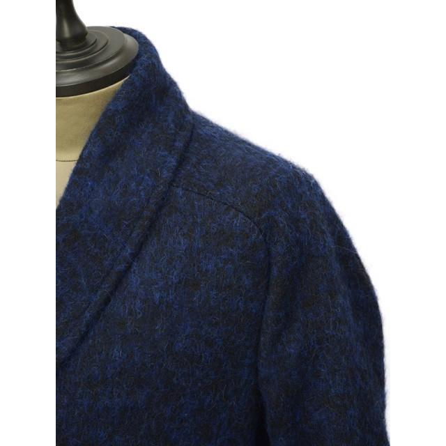 【size44,46,48】Massimo Piombo【マッシモ ピオンボ】ショールカラーコート SHAWLCOLLA B31 ヴァージンウール モヘア アルパカ ブルー ブラック|cinqueunaltro|04
