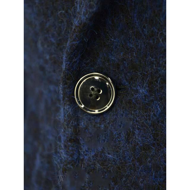 【size44,46,48】Massimo Piombo【マッシモ ピオンボ】ショールカラーコート SHAWLCOLLA B31 ヴァージンウール モヘア アルパカ ブルー ブラック|cinqueunaltro|05