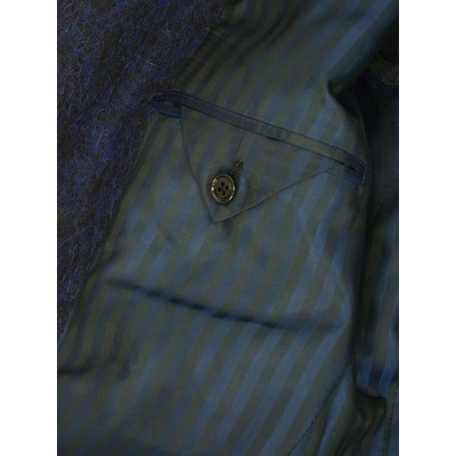 【size44,46,48】Massimo Piombo【マッシモ ピオンボ】ショールカラーコート SHAWLCOLLA B31 ヴァージンウール モヘア アルパカ ブルー ブラック|cinqueunaltro|06