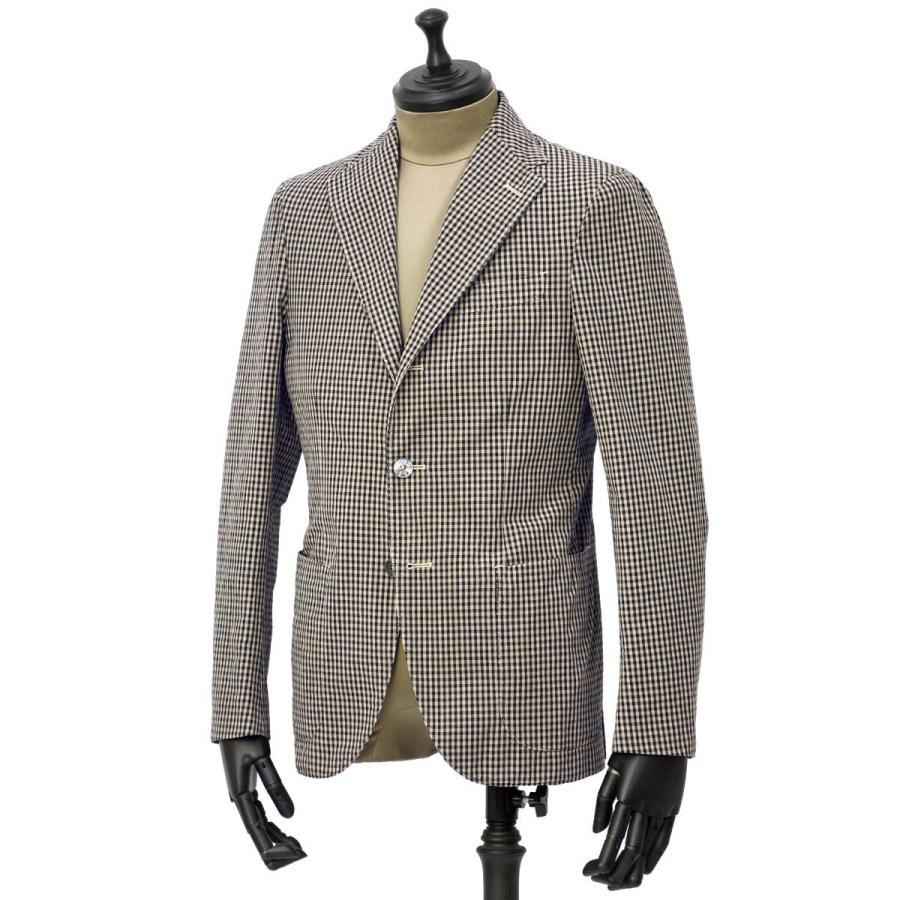 【size44,46】THE GIGI【ザ ジジ】シングルジャケット ART K601 200 コットン ギンガムチェック ブラウン ブラック|cinqueunaltro