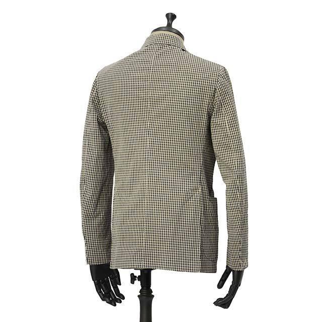 【size44,46】THE GIGI【ザ ジジ】シングルジャケット ART K601 200 コットン ギンガムチェック ブラウン ブラック|cinqueunaltro|02
