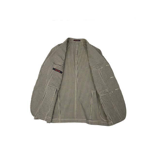 【size44,46】THE GIGI【ザ ジジ】シングルジャケット ART K601 200 コットン ギンガムチェック ブラウン ブラック|cinqueunaltro|03
