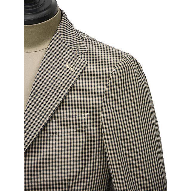 【size44,46】THE GIGI【ザ ジジ】シングルジャケット ART K601 200 コットン ギンガムチェック ブラウン ブラック|cinqueunaltro|04