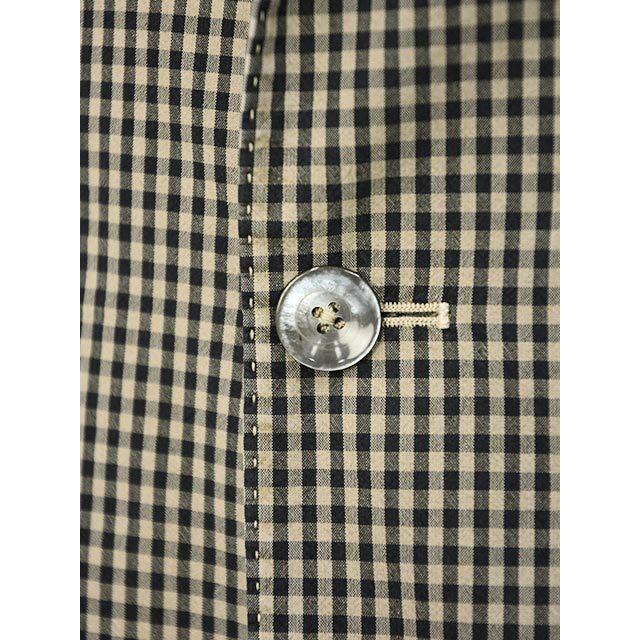 【size44,46】THE GIGI【ザ ジジ】シングルジャケット ART K601 200 コットン ギンガムチェック ブラウン ブラック|cinqueunaltro|05