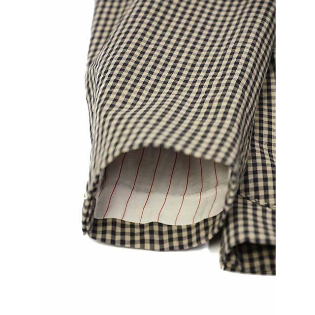 【size44,46】THE GIGI【ザ ジジ】シングルジャケット ART K601 200 コットン ギンガムチェック ブラウン ブラック|cinqueunaltro|06