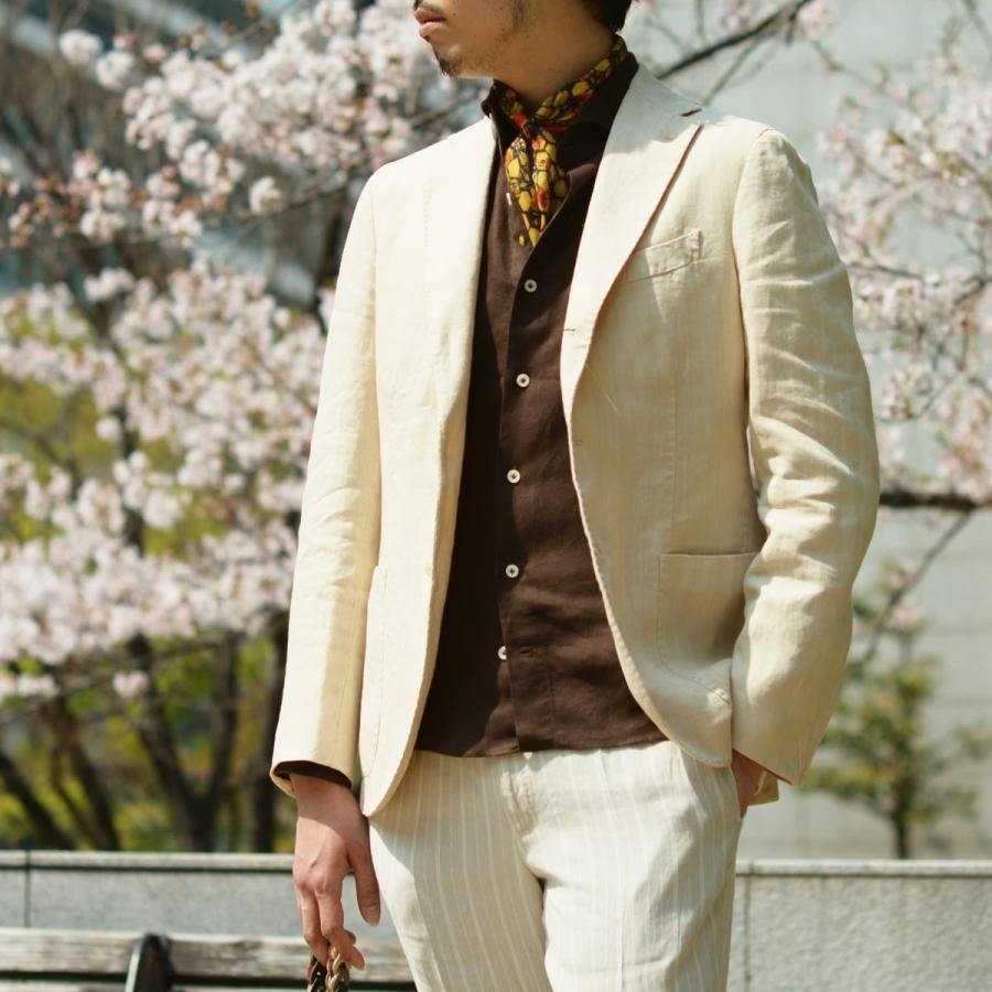 【size46,48,50】THE GIGI【ザ ジジ】シングルジャケット ART K603 200 リネン オフベージュ|cinqueunaltro|08