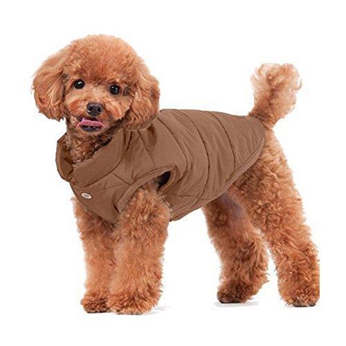Emfay ペット服 犬服 コート ジャケット ダウン ボタン留めタイプ 防寒 冬服 ドッグウェア コーヒー L L コーヒー|clartellc|02