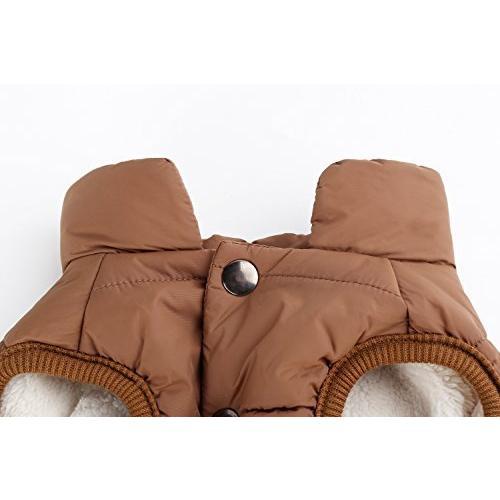 Emfay ペット服 犬服 コート ジャケット ダウン ボタン留めタイプ 防寒 冬服 ドッグウェア コーヒー L L コーヒー|clartellc|05