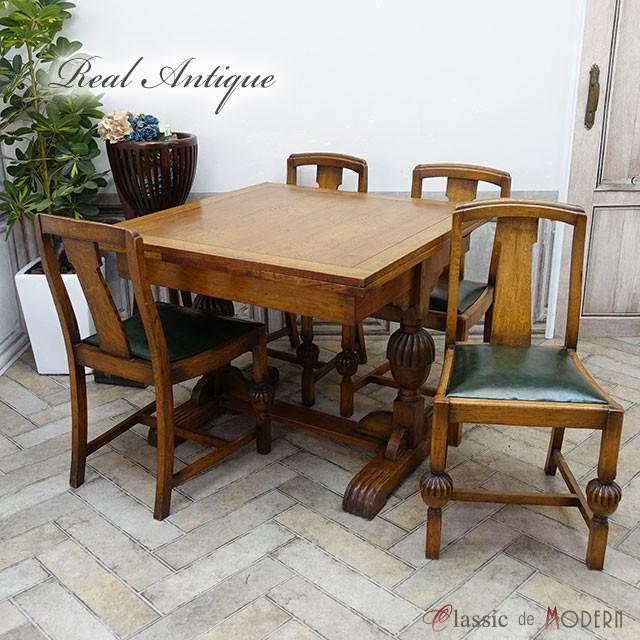リアルアンティーク ドローリーフテーブル・チェア4脚セット 1920年頃 オーク材 イギリス antique55106