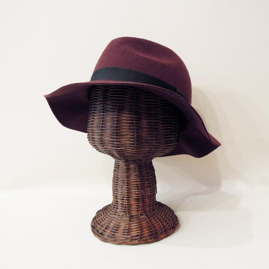 30%OFF アメリカブランド HATTER フェルト中折れハット レディース 女性用 秋冬 つば広 バーガンディー 帽子 新品 未使用|classica