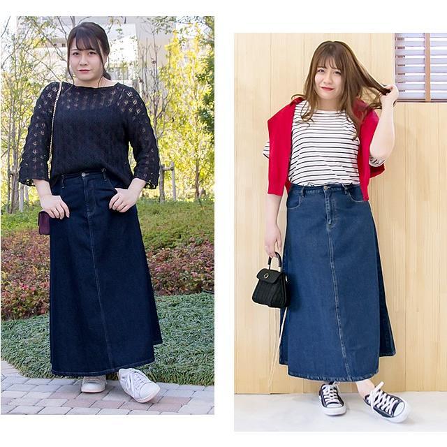 大きいサイズ レディース cletteオリジナル★デニムロングスカート|clette-online|08