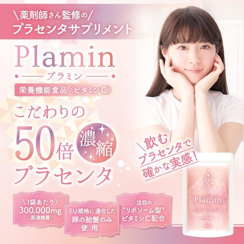 プラセンタ サプリ ビタミンC ヒアルロン酸 コラーゲン セラミド サプリメント プラミン 60粒30日分 cm-japan 05