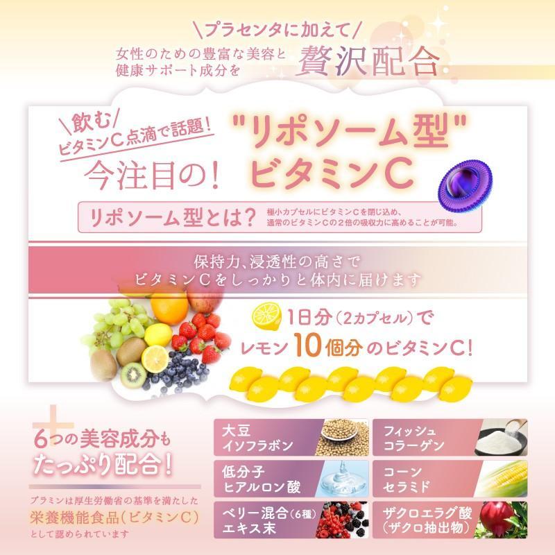 プラセンタ サプリ ビタミンC ヒアルロン酸 コラーゲン セラミド サプリメント プラミン 60粒30日分 cm-japan 08