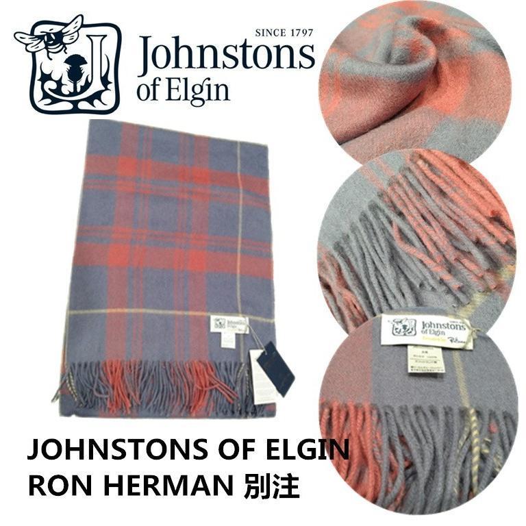 JOHNSTONS OF ELGINジョンストンズ×ロンハーマン別注Ron Herman マフラー カシミア大判ストールチェック|cobalt-shop|02