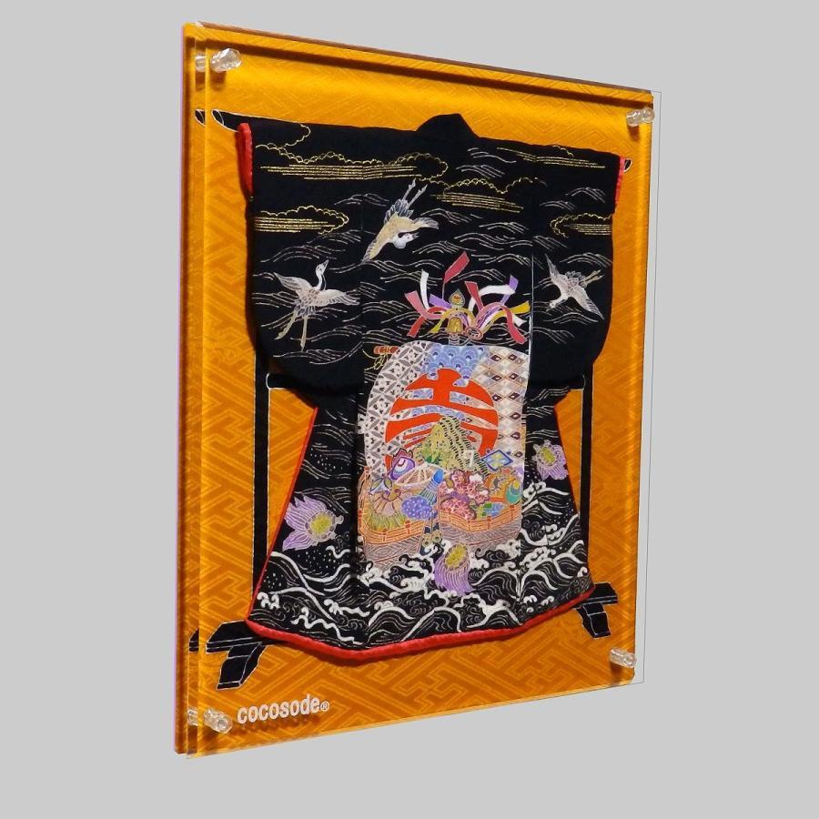 ミニチュア着物宝船模様鶴亀 黒色|coco-sode|02
