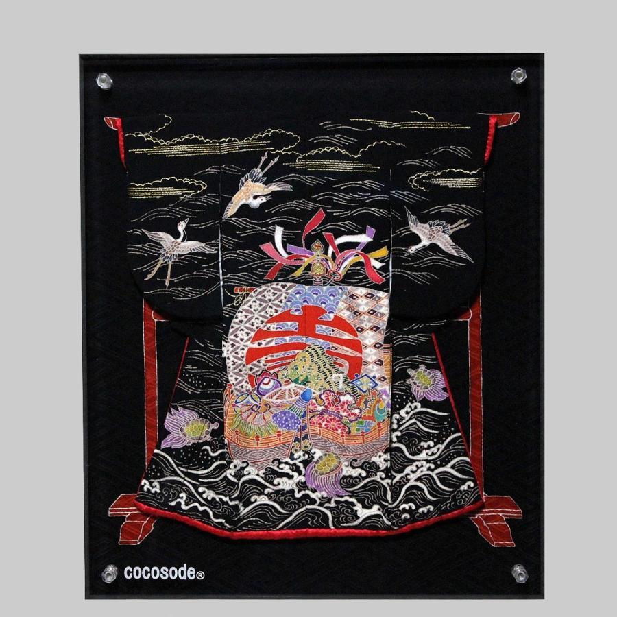 ミニチュア着物宝船模様鶴亀 黒色|coco-sode|05