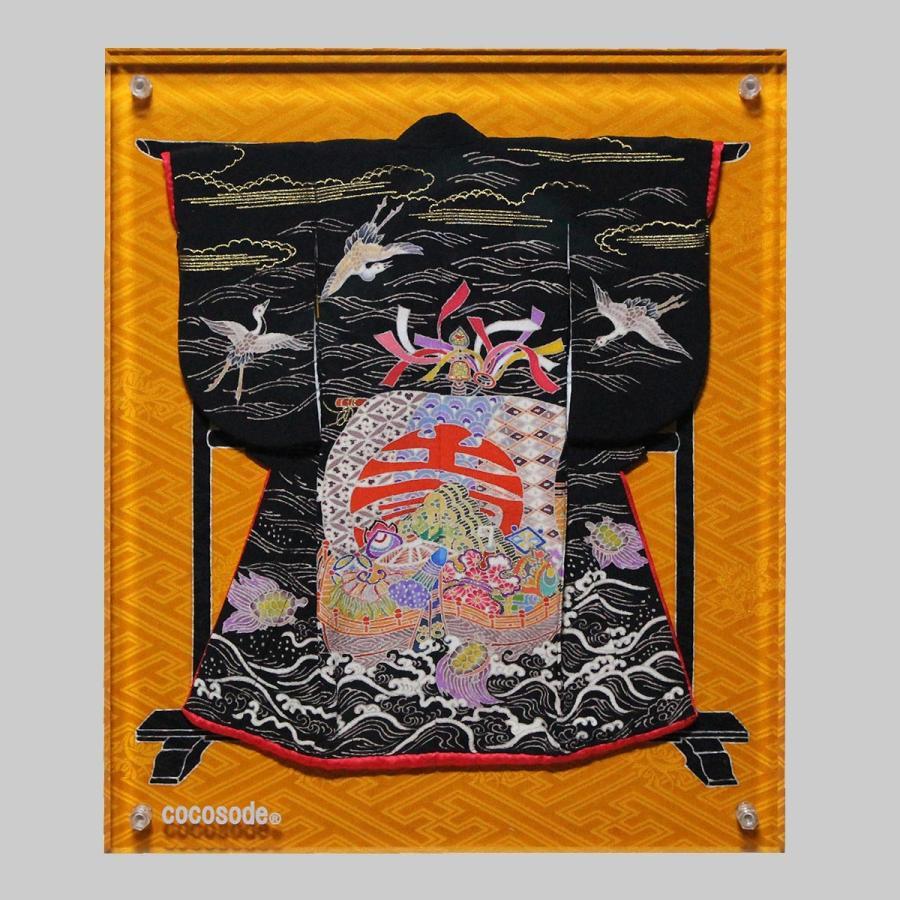 ミニチュア着物宝船模様鶴亀 黒色|coco-sode|06