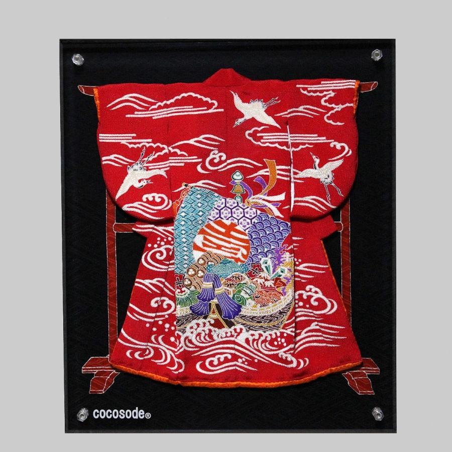 ミニチュア着物宝船模様鶴波 赤色 coco-sode 06