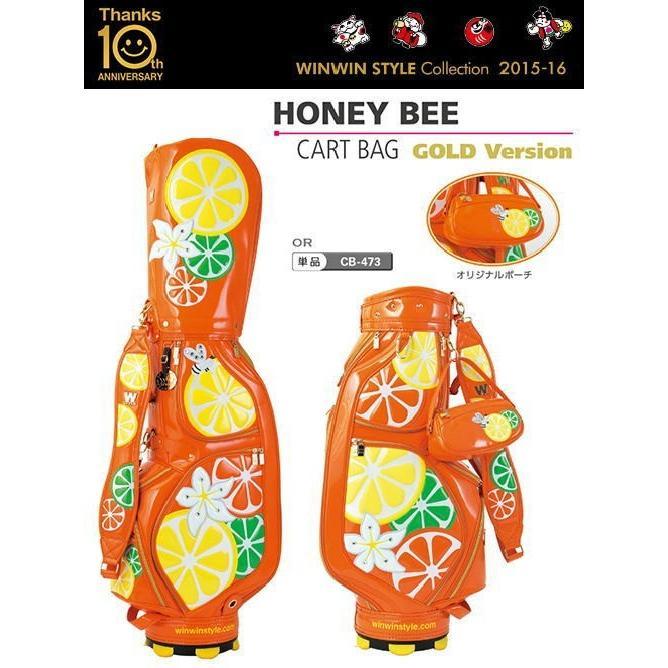 【レディース!!オリジナルポーチ付♪】 WINWIN W-STYLE キャディバッグ HONEY BEE CART BAG GOLD Version