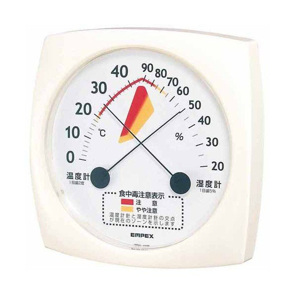 【正規品】 TM-2511 食中毒注意 エンペックス EMPEX 温湿度計 ホワイト-健康管理、計測計