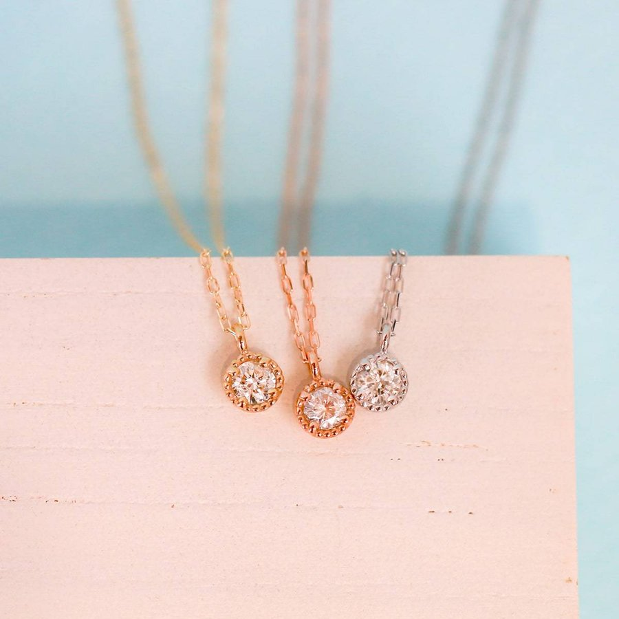 ネックレス ダイヤモンド k10 一粒 イエローゴールド/ホワイトゴールド/ピンクゴールド 品質保証書 天然ダイヤ 日本製 新生活 母の日 ギフト プレゼント cococaru 04