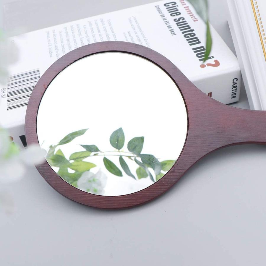 Frcolor ハンドミラー 木目調 手鏡 化粧鏡 携帯便利 手持ち メイクアップミラー かわいい おしゃれ(コーヒー)|coconina|03