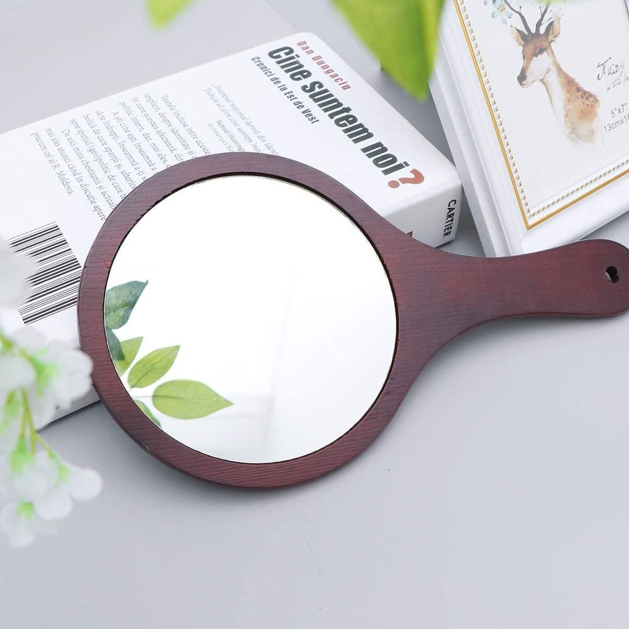 Frcolor ハンドミラー 木目調 手鏡 化粧鏡 携帯便利 手持ち メイクアップミラー かわいい おしゃれ(コーヒー)|coconina|06