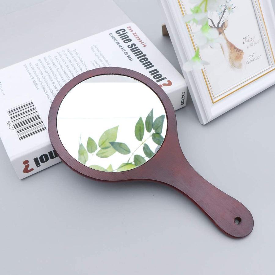 Frcolor ハンドミラー 木目調 手鏡 化粧鏡 携帯便利 手持ち メイクアップミラー かわいい おしゃれ(コーヒー)|coconina|07