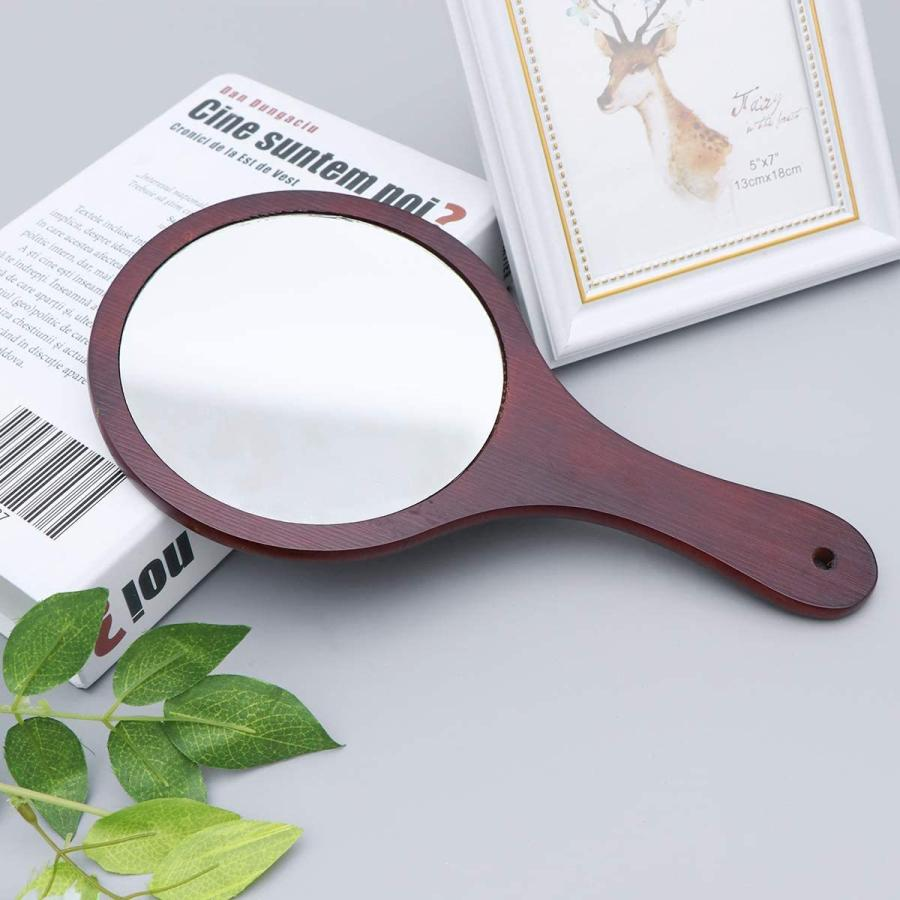Frcolor ハンドミラー 木目調 手鏡 化粧鏡 携帯便利 手持ち メイクアップミラー かわいい おしゃれ(コーヒー)|coconina|08